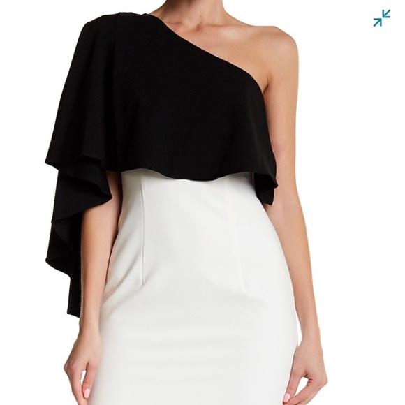 2d3a346e92833 Black Halo Dresses | Maeve Colorblock Cape Sheath Dress | Poshmark